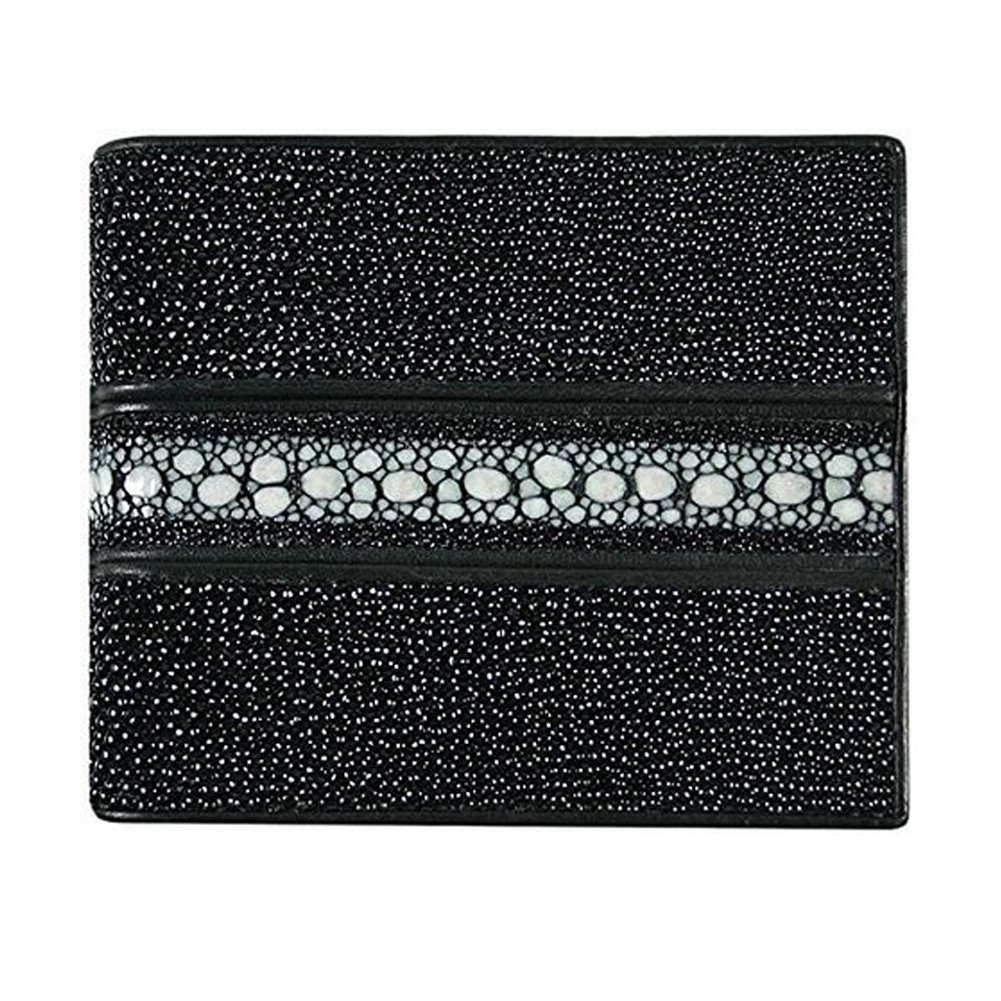 Classic Genuine Stingray Leather Bi-Fold Wallet w/ Left Flap