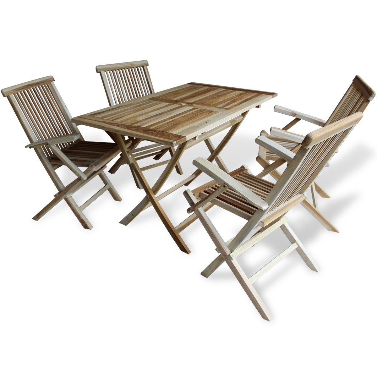 vidaXL Teak 5-tlg. Sitzgruppe Sitzgarnitur Holz Gartenmöbel ...