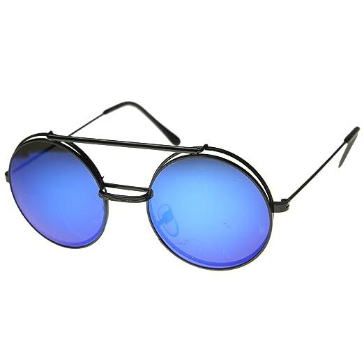 ca8ba0b3a Amazon.com: Limited Edition Mirror Flip-Up Lens Round Circle Django  Sunglasses (Black Ice): Clothing
