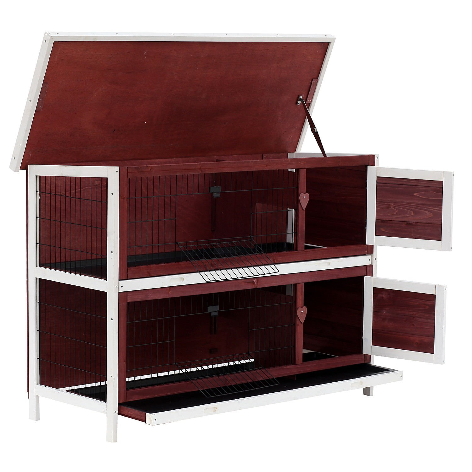 PawHut 54'' 2-Story Weatherproof Stackable Elevated Wooden Rabbit Hutch with Enclosed Run and Pull-Out Trays by PawHut (Image #3)