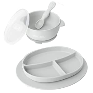 Ullabelle Toddler Plates & Bowls Set for Babies Silicone Non Slip Baby Feeding Set Kids Placemats with Spoons Included - BPA Free. (Grey)