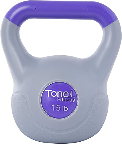 Tone Fitness Cement Filled Kettlebell, 15 Pounds