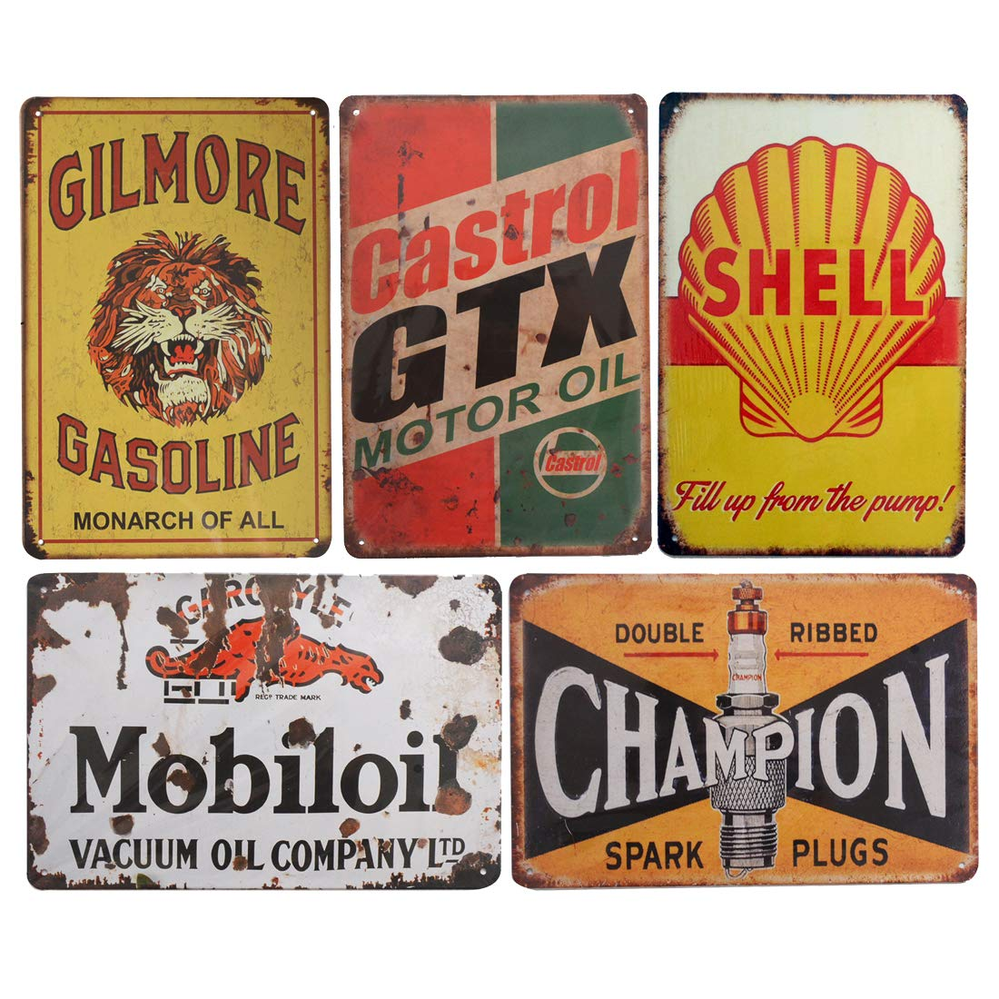 PEIs Set of 5 pcs Retro Vintage Tin Metal Sign, Gas Motor Oil Signs, Wall Decor for Home Garage Bar Man Cave, 8x12 inch/20x30cm