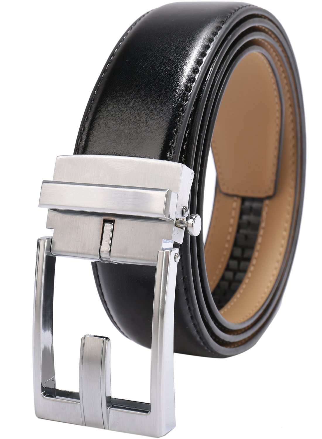 Beltox Fine Men's Ratchet Dress Leather Belt with Automatic Buckle in Gift Box (Waist size up to 54, Dual-use Silver Buckle) …