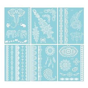 White Henna Temporary Tattoo - 6 Sheet 100 Jewelry Inspired Tattoo Sticker Kit for Summer/Wedding/Beach/Music Festivals for Women & Girls (Elephant)
