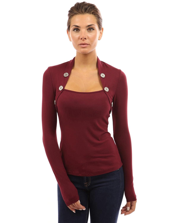 PattyBoutik Womens Bolero Button Long Sleeve Blouse