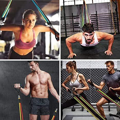Molbory – Juego de 5 bandas de resistencia, bandas de gimnasia para hombre y mujer, correas para el tobillo para todo el cuerpo, yoga, pilates, ...