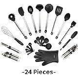 Utensils Set - 24-Piece Complete Silicone Cooking Kitchen Tools Set , Cookware Set , Kitchen Gadgets - Utensilios de Cocinas