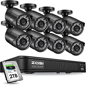 ZOSI 1080p H.265+ PoE Home Security Camera System Outdoor Indoor