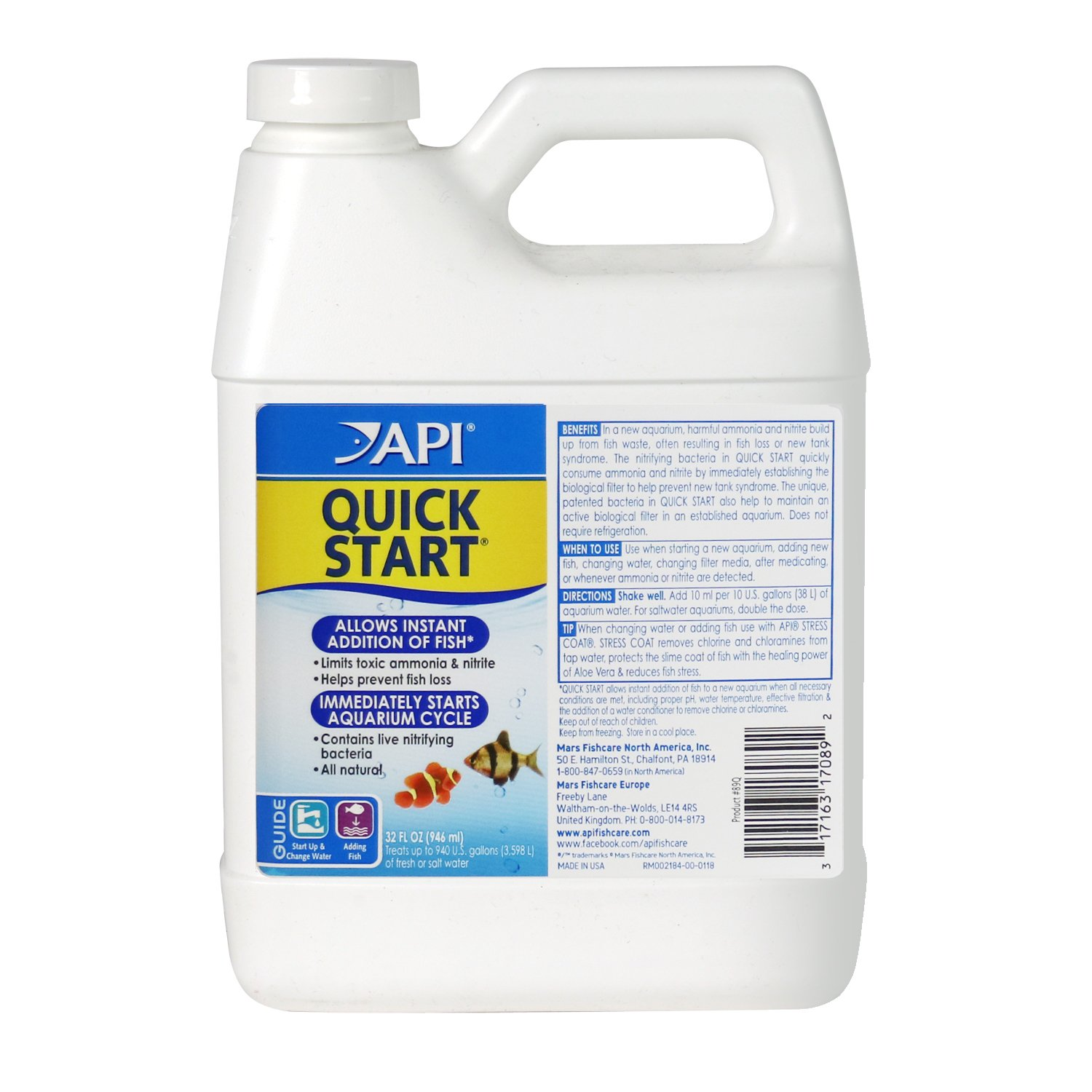 API QUICK START Nitrifying bacteria, For Freshwater and Saltwater Aquarium by API