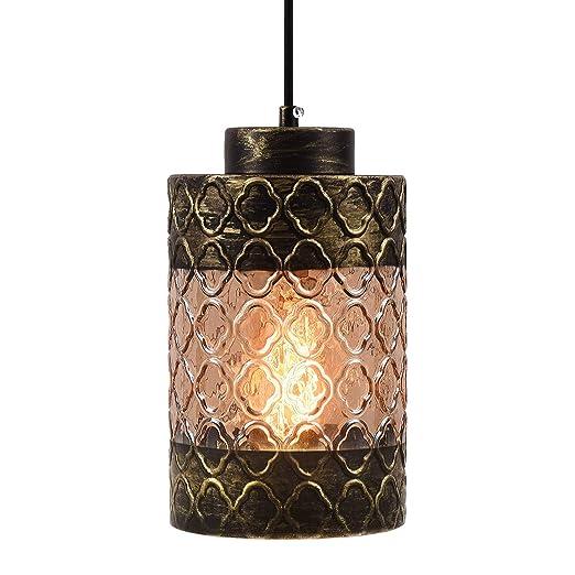 Amazon.com: Lámpara colgante rústica con pantalla de cristal ...