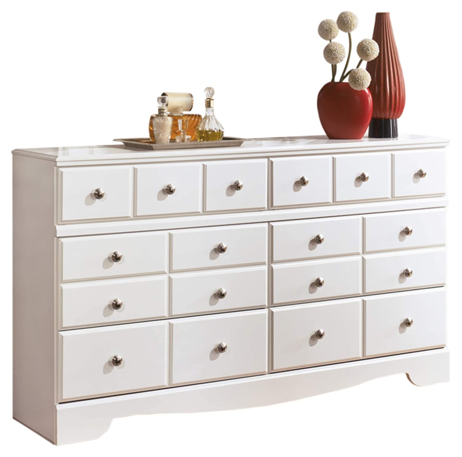 Amazon com ashley furniture signature design weeki dresser 6 drawers classic contemporary white kitchen dining