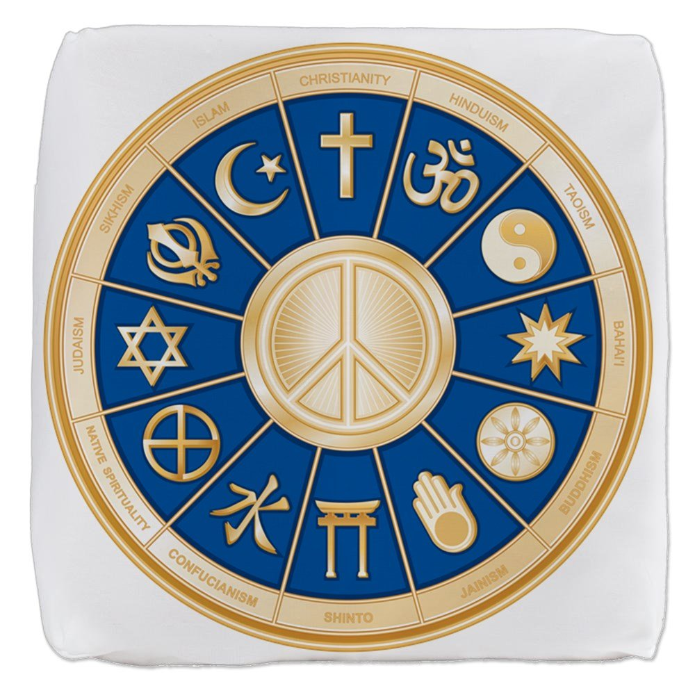 13 Inch 6-Sided Cube Ottoman International Peace Symbol Religions by Royal Lion