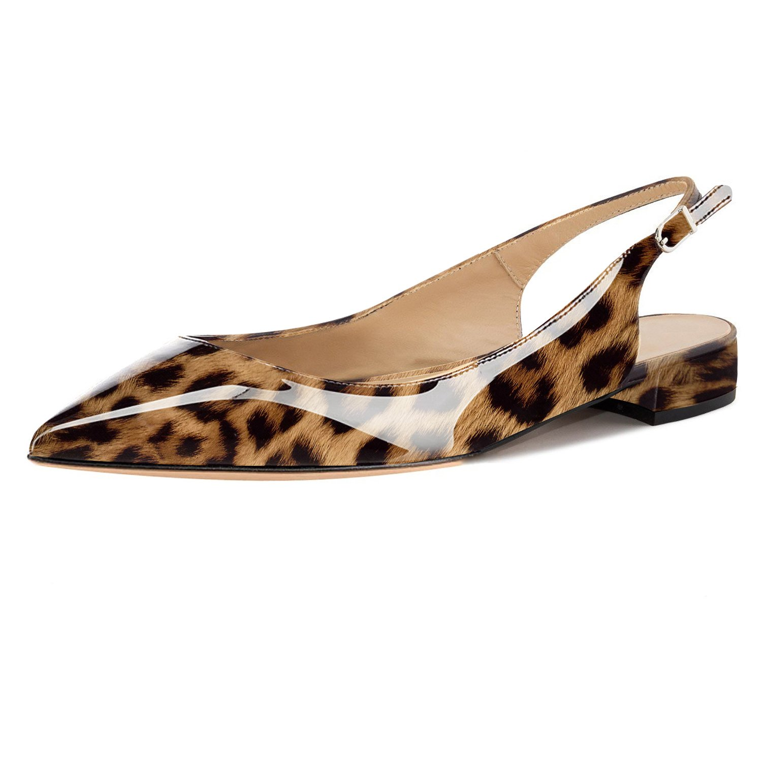 Eldof Women Low Heels Pumps | Pointed Toe Slingback Flat Pumps | 2cm Classic Elegante Court Shoes B07C7Y5CCF 10 B(M) US|Leopard Brown