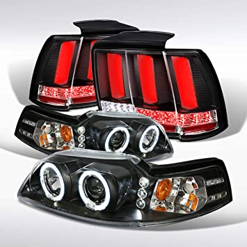 99-04 Mustang Glossy Black Projector Headlights+Smoke LED Sequential Tail Lights
