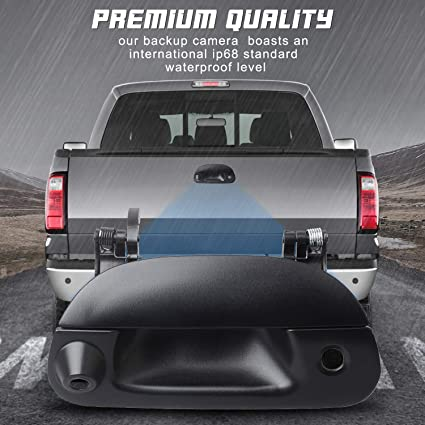 2008-2014 | Heavy Duty F250 F350 F450 F550 HERCOO Tailgate Door Handle Backup Camera Tail Gate Reverse Rear Guide Line Compatible with Ford Pickup Truck Ford F150 2005-2014