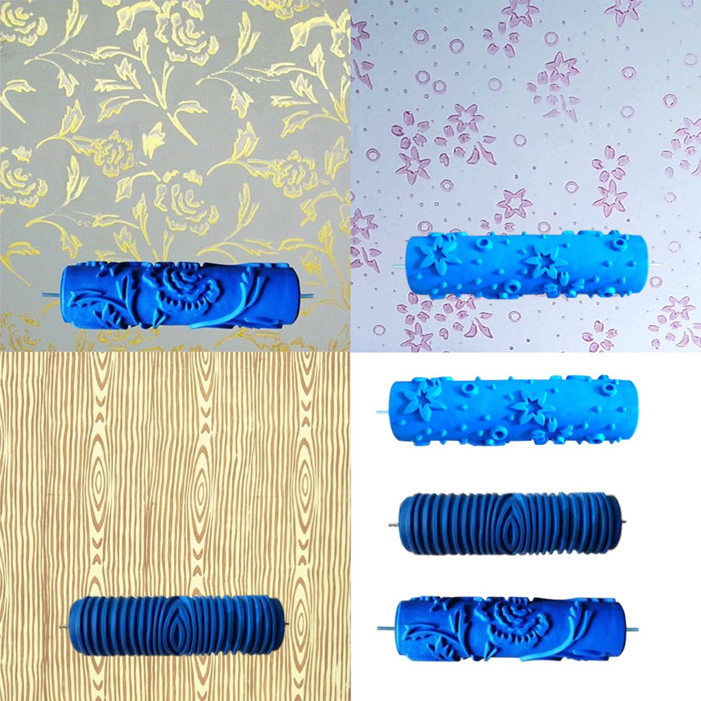 MagiDeal 7inch Embossed Star Pattern Painting Roller Brush Wall ...