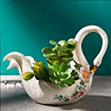 Worila Beautiful White Swan Shape Succulent Plant Pot Modern Handmade Resin Plant Pot / Flower Pot / Plant Container / Planter