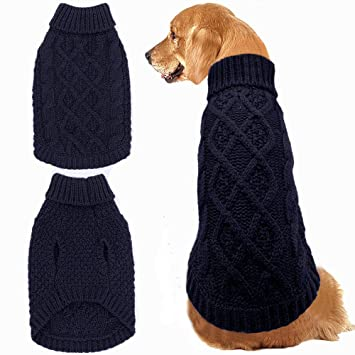 d6cd3d4a4 Mihachi Dog Sweater - Winter Coat Apparel Classic Cable Knit Clothes for Cold  Winter
