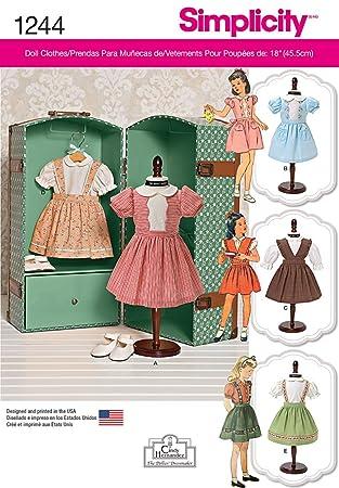 Simplicity 1244 Größe OS Vintage 18 Puppenkleider Schnittmuster ...