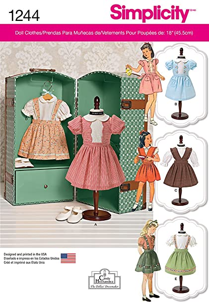 32898f119cd9 Simplicity Creative Patterns 1244 Vintage 18-Inch Doll Clothes, Size: Os  One Size