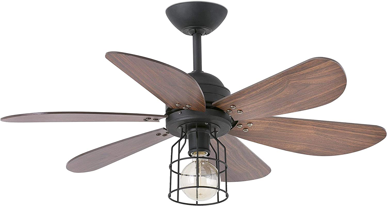 AireRyder Ceiling Fan Cyrus Chrome with Light and Pull Cords 42 inch 107 cm with Black and Silver Blades