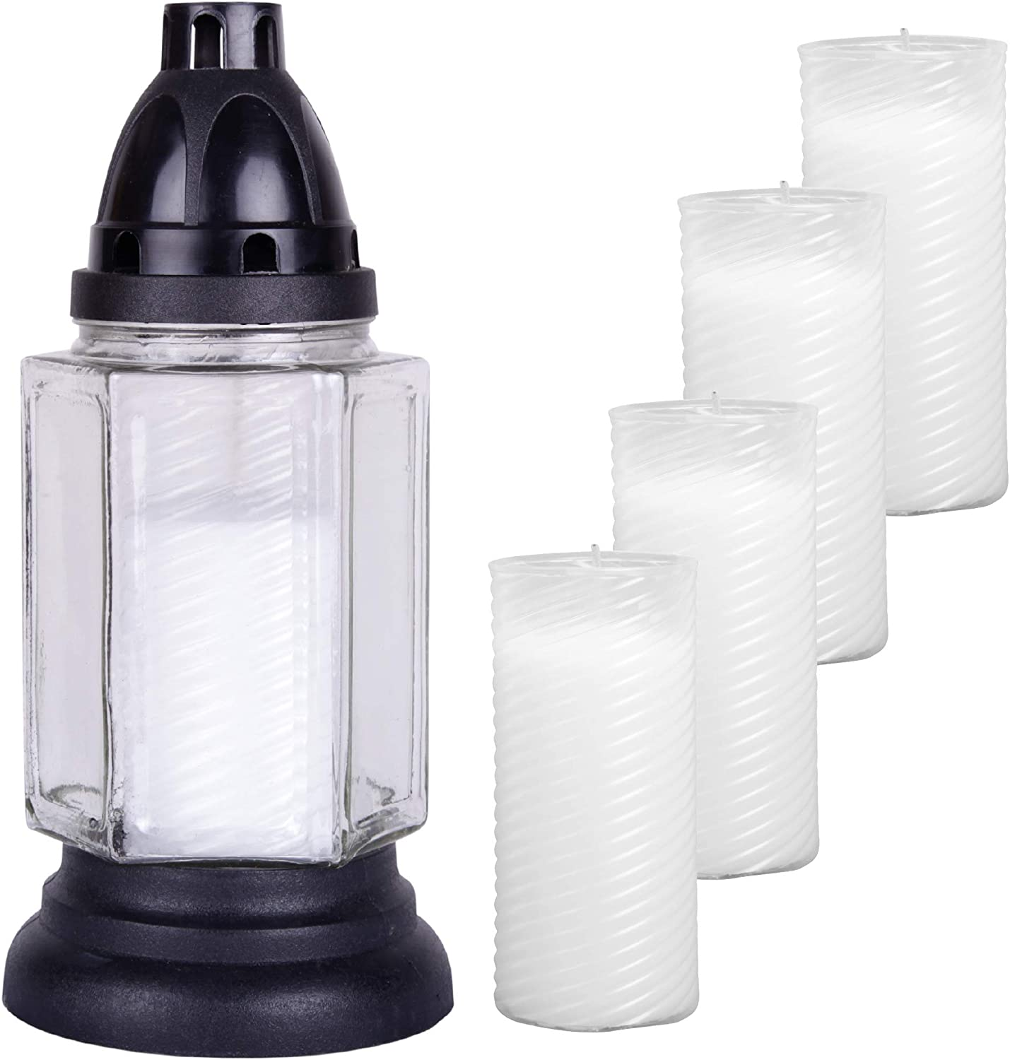 24 cm with 5 refill candles HS Candle Glass Grave Light Approx