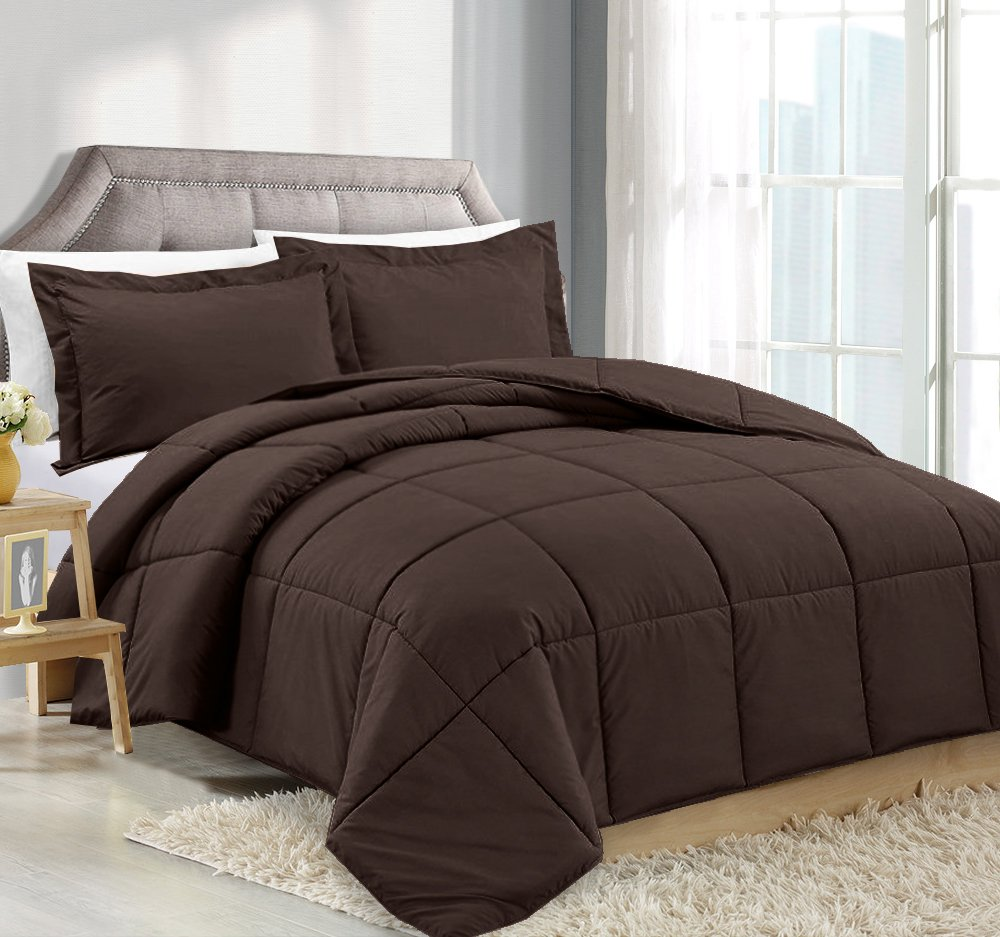 Queen Comforter Reversible Duvet Insert With Shams - Chocolate