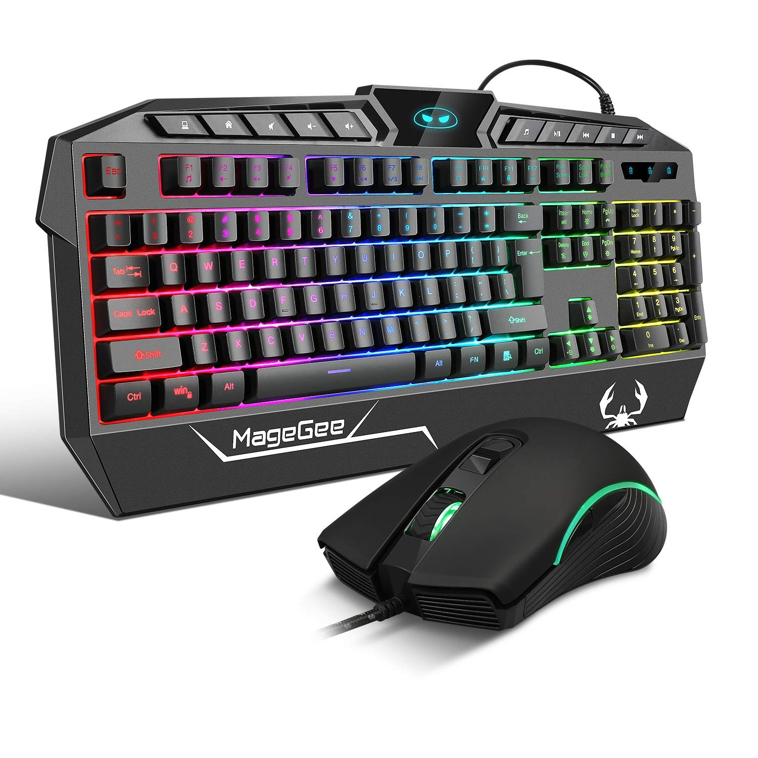 RGB Gaming Keyboard and Mouse Combo,104 Keys Gaming Keyboard Mechanical Feeling with 10 Multimedia Keys,Wired Ergonomic Wrist Rest Keyboard and Adjustable DPI Gaming Mouse for PC Mac Laptop Office