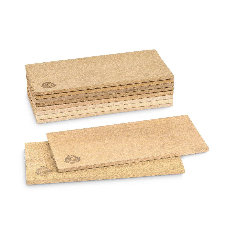 10 placche per affumicare in legno di cedro canadese (30 x 14 x 0,8) di BURNHARD (set da 5 placche con superficie liscia e 5 con superficie ruvida) non trattate