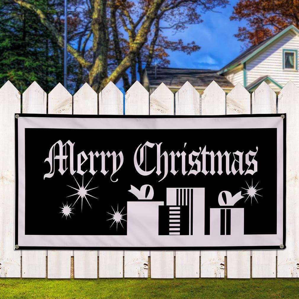 48inx96in 8 Grommets One Banner Vinyl Banner Sign Merry Christmas Black White Outdoor Marketing Advertising Black Multiple Sizes Available
