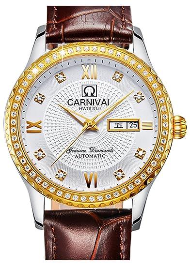 Para hombre 25 joyas automático oro banda de cuero relojes Mineral espejo calendario reloj luminoso de
