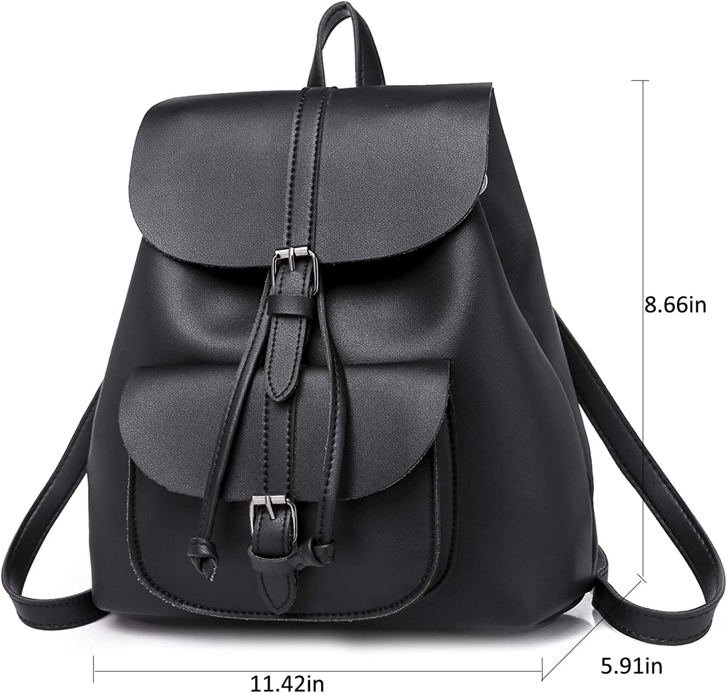 YanHao Retro Backpack Fashion Drawstring Flap Cover Travel Rucksack Backpack School Bag for Women Ladies