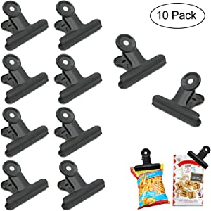 Orcielo 10 Pack Large Bulldog Clip Bag Clips, Food Clips, Paper Clips with 2.5 Inch Wide, Heavy Duty Stainless Steel Clips for Crafts, Food Bags, Drawings, Photos Home Kitchen & Office Useage, Black