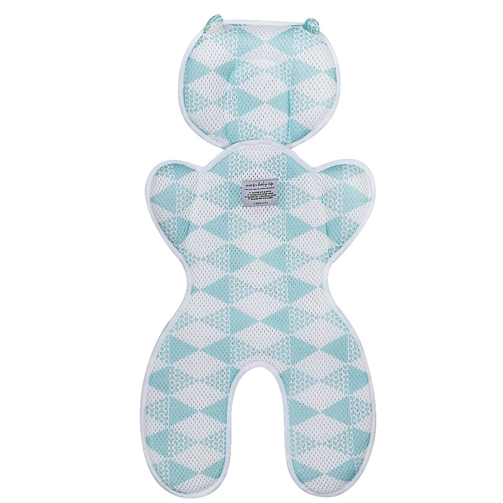 Topwon Baby Head Support Pillow Breathable 3D Mesh Cool Cursion Liner for Stroller,Pushchair,Car Seat (Blue)