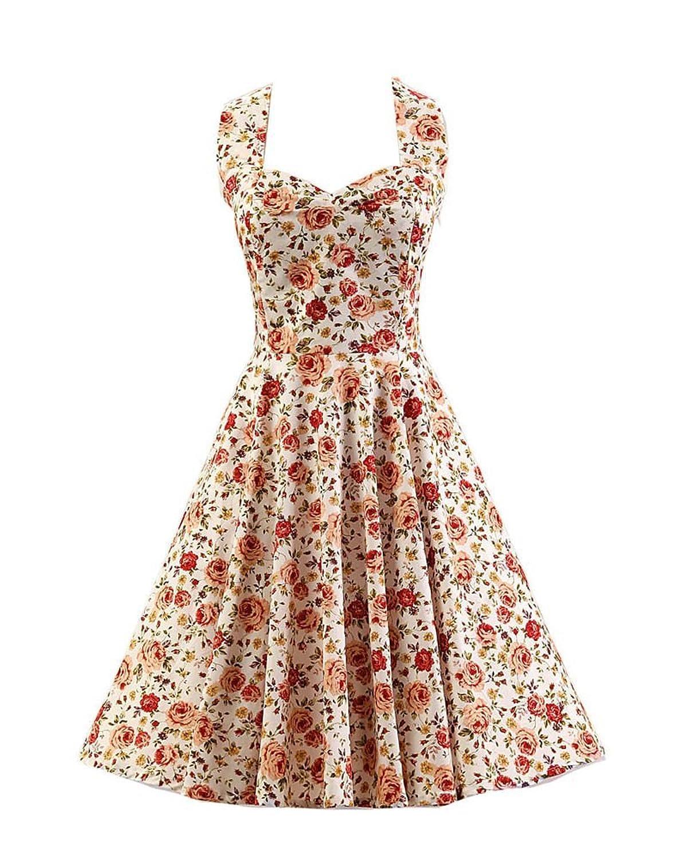 SaiDeng Damen Schlank Fit Blumen Drucken Jahrgang Kleid