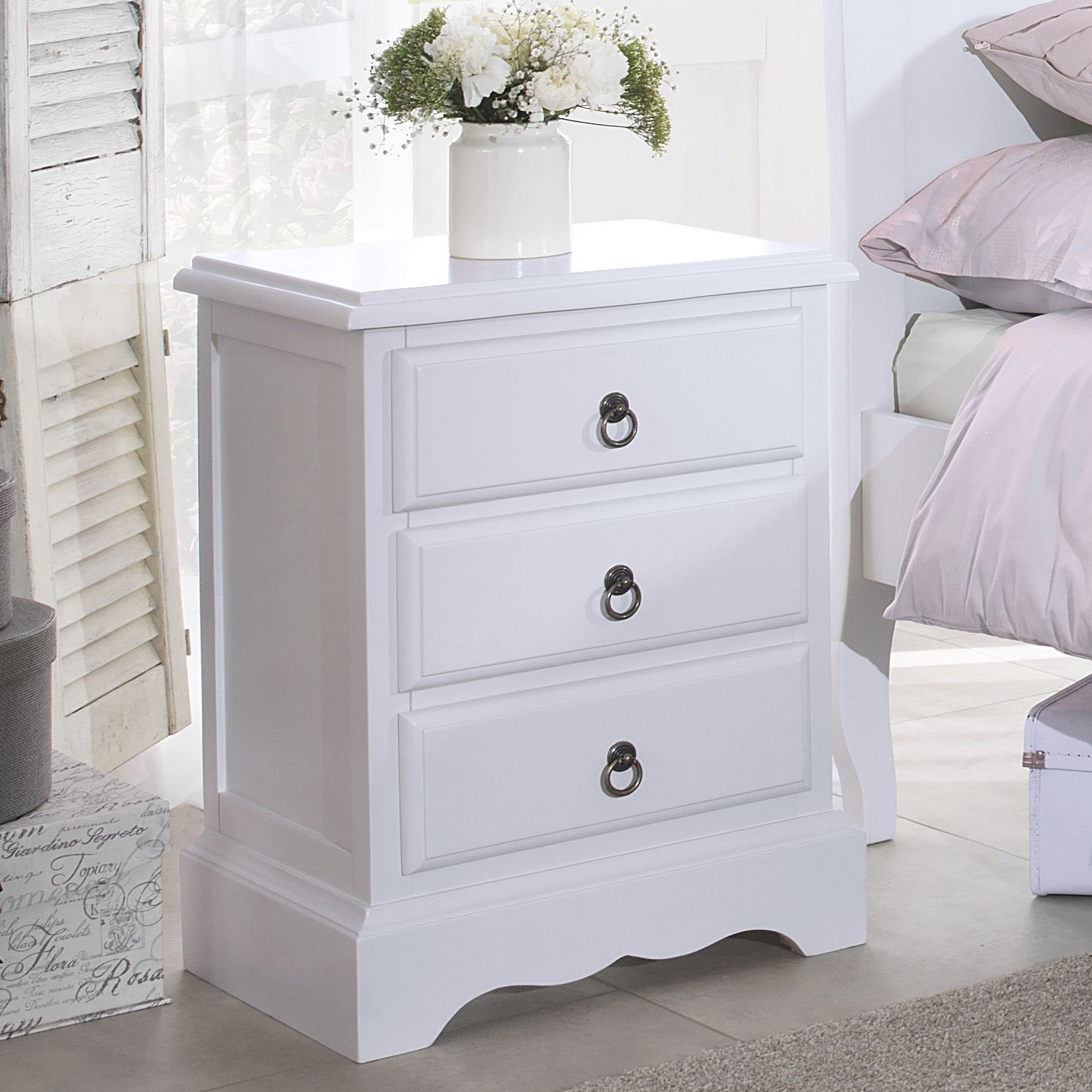 Romance bedside table stunning white bedside cabinet with 3 drawers romance bedside table stunning white bedside cabinet with 3 drawers assembled antique white amazon kitchen home watchthetrailerfo