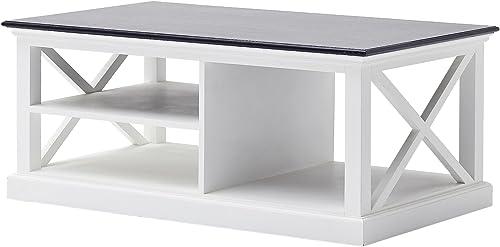 NovaSolo Halifax Contrast Pure White Mahogany Wood Coffee Table