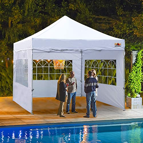 ABCCANOPY Outdoor Canopy Tent 10×10 Gazebo Pop Up Party Tent Wedding Instant Shelter with Elegant Church, Bonus Carrying Case Bag, White