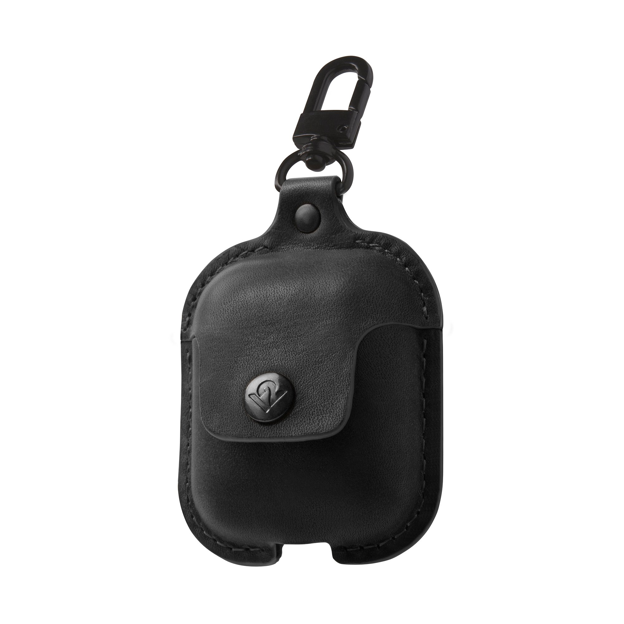 Twelve South AirSnap | Burnished Leather case for AirPods in Black
