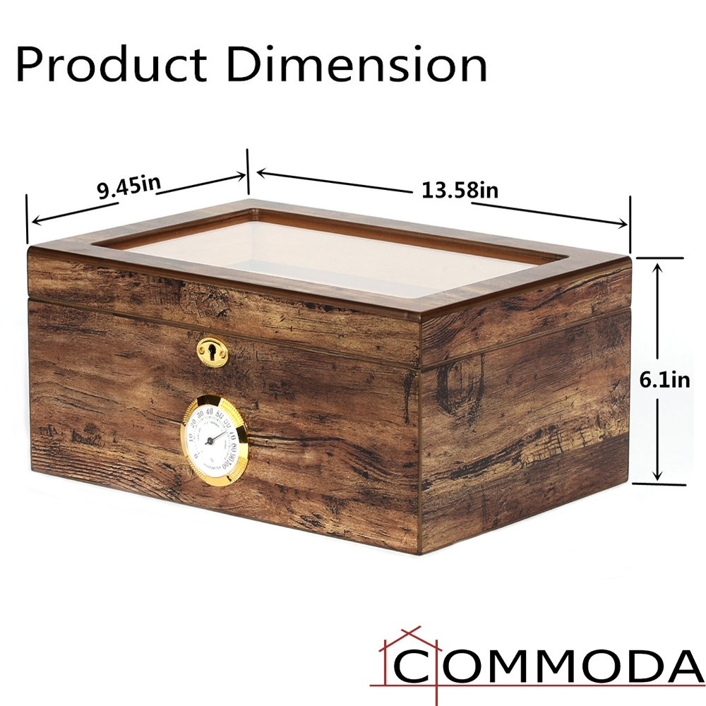 COMMODA Desktop Cigar Humidor Tempered Glasstop with Front Mounted Hygrometer and Humidifier, Cedar Lined Storage Box Spanish Cedar Tray with Divider, Holds 100 Cigars Cigar Free Cutter and Rack by COMMODA (Image #7)