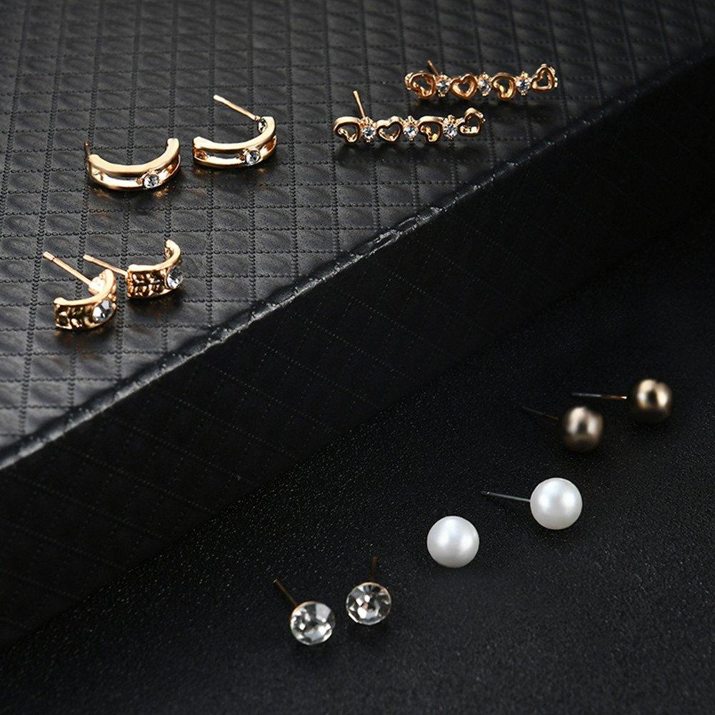 Teenxful Bluelans Femme Mode Strass Six paires Bijoux Ensemble de boucles doreilles Fausse Perle f/ête Charm
