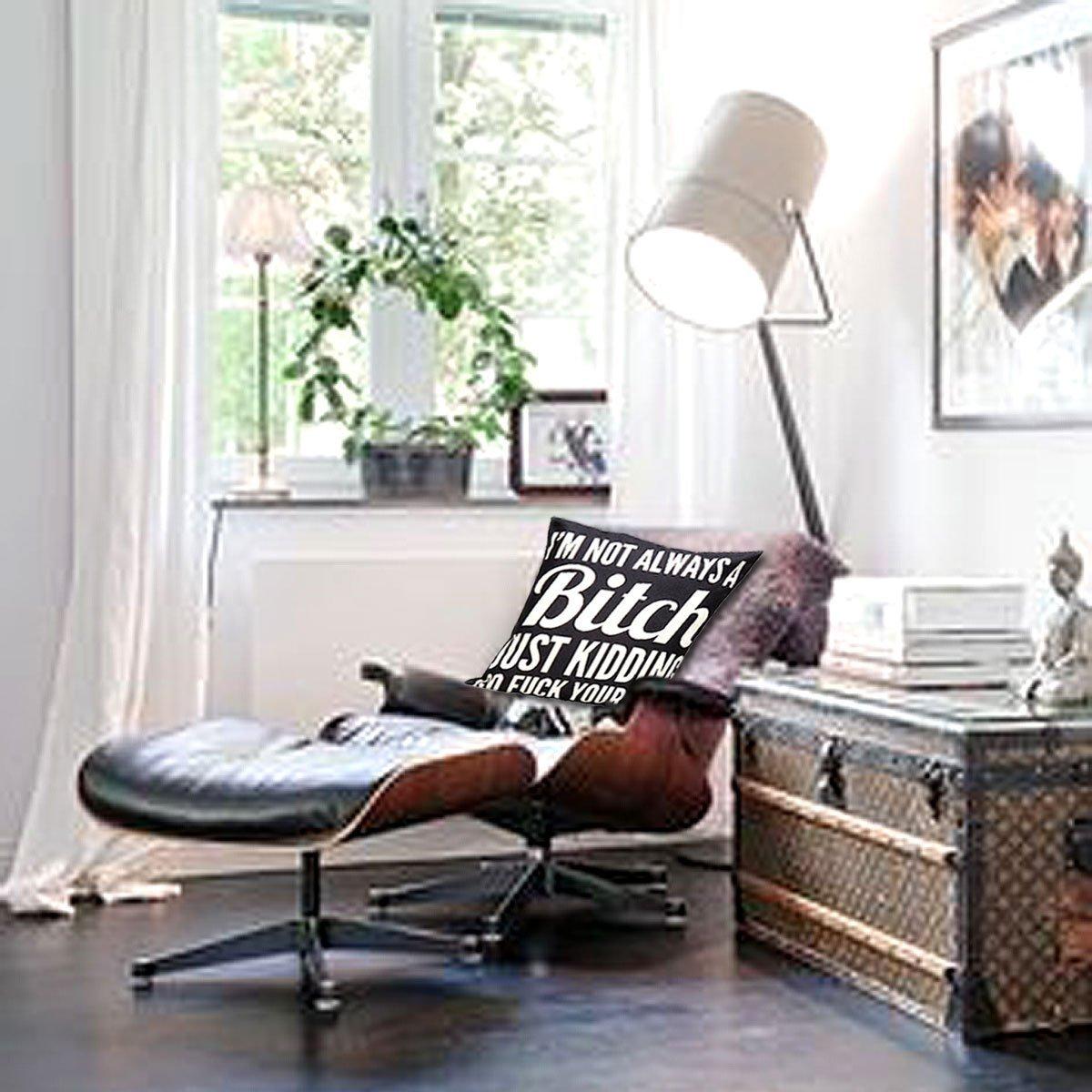VERISA Decorative Cotton Linen Bitch Pattern Adult Theme Room Decor Fun Sofa Throw Pillow Cover Cases 18x18inches Black