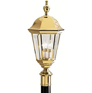 Kichler Lighting 9989PB LifeBrite 3 Light Outdoor Post Lantern, Polished  Brass With Clear Beveled