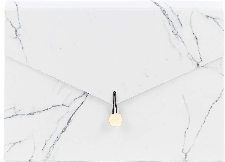 U Brands Fashion Expandable File Folder, Letter Size, 13 Pockets, Marble Print