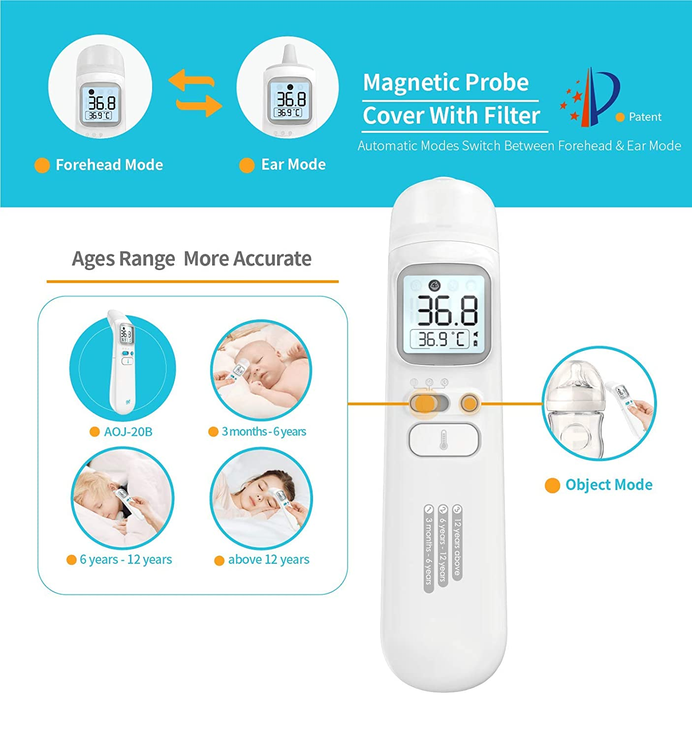 Baby Thermometer, Forehead and Ear Thermometer for Fever Professional Medical Digital Infrared Temporal Thermometer for Fever,1s Instant Accurate Reading for Baby Kids Adults IF Design Award 2019