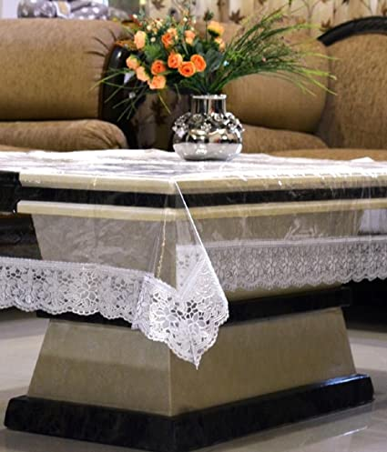 Kuber Industries PVC Center Table Cover - Transparent, Silver Lace, 4 Seater