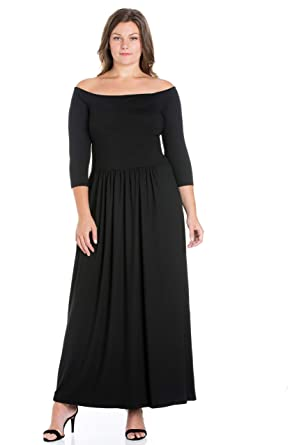 4434847e6f1 24seven Comfort Apparel Women s Plus Size 3 4 Sleeve Off The Shoulder  Pleated Maxi Dress