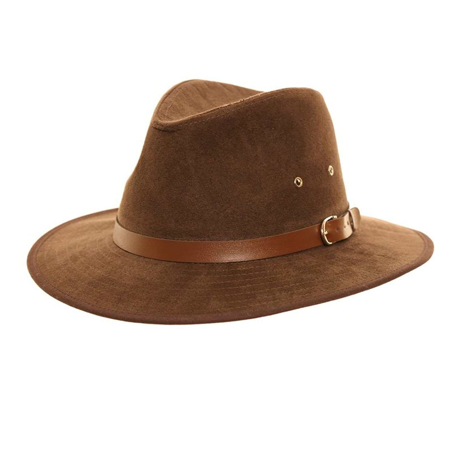 Unisex Faux Suede Summer Panama Fedora Felt Trilby Hat With Wider Brim and Belt Band