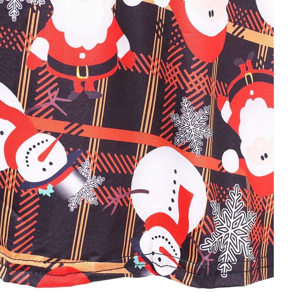 FEDULK Clearance Christmas Women Dress Santa Claus Print Plaids Loose Swing Evening Party Dress